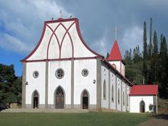 The Catholic church at Vao on the Isle of Pines, New Caledonia, South Pacific, recalls the first French missionaries who landed here in South Pacific, Catholic, French, French Language, France, Roman Catholic