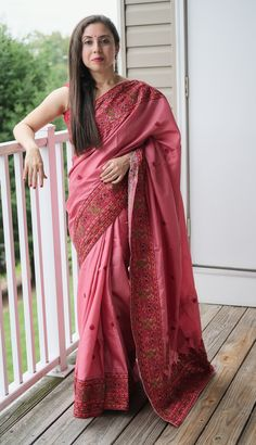 Semi Tussar Kashmiri Embroidery Saree in Pink Embroidery Saree, Tussar Silk Saree, Mulberry Silk, Indian Beauty, Machine Embroidery, Sari, Photoshoot, Pink, Collection