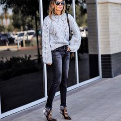 OOTD I'm really excited about this post because I'm styling these amazing pieces from @adrianaonline my go place to find unique and cool pieces. Sweater, jeans and booties from #adrianaonline #sponspored