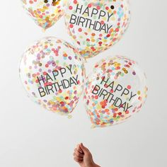 Ginger Ray 4 Pack Rainbow Confetti Birthday Balloons New Look birthday balloons - Birthdays Clear Balloons, Rainbow Balloons, Confetti Balloons, Latex Balloons, Party In A Box, Party Set, Happy Birthday Rainbow, Happy Birthday Balloons, Rainbow Theme