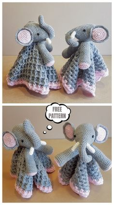 Ella The Elephant Baby Lovey Free Crochet Pattern Ella T. : Ella The Elephant Baby Lovey Free Crochet Pattern Ella The Elephant Baby Lovey Free Crochet Pattern Sock Elephant Pattern, Crochet Elephant Pattern Free, Crochet Applique Patterns Free, Elephant Applique, Crochet Patterns Amigurumi, Crochet Blanket Patterns, Crochet Baby, Free Crochet, Newborn Crochet