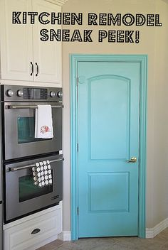 Love this color kitchen door!