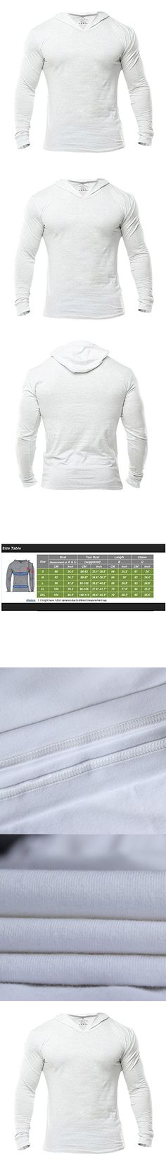 MUSCLE ALIVE Bodybuilding Long-sleeve Hoodie Casual Sweatshirts Stretchy Cotton White Plain Color Size M