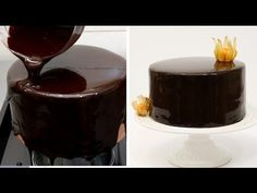 How To Make A Chocolate Mirror Glaze Cake 초콜릿 글레이즈 - YouTube