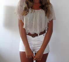 Lacey shirt + white shorts + brown belt
