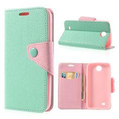 Koženkové pouzdro - tyrkysové/růžové - HTC Desire 300