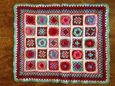 Crochet granny square blanket, no pattern.