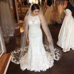 Wow! We are in love with our new #stellayork high neck, lace wedding gown paired with our lace cathedral veil! It's the perfect combination for your whimsical day! ✨• • • • • #bride #weddings #myeverafterbridalcleveland #isaidyestothedress