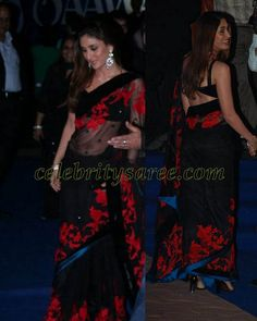 Kareena Kapoor in Black Transparent Sari | Saree Blouse Patterns