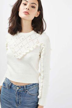 PETITE Pom Pom Ruffle Jumper - Knitwear - Clothing - Topshop