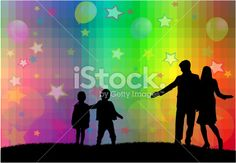 Family silhouettes Royalty Free Stock Vector Art Illustration