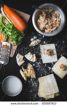 make a delicious of asian pork dumplings with vegetables. - stock photo