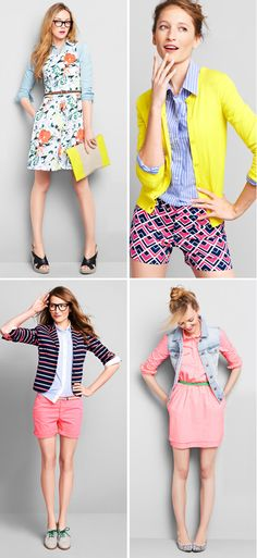 gap spring. florals, stripes, pink, coral, navy, yellow