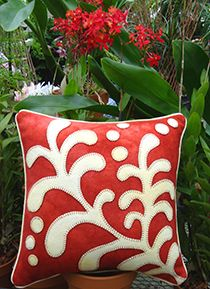 Opposites Attract Fern Wool Applique Throw Pillow $9,99 pattern