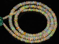 Natural Ethiopian Welo Opal Gemstone  Rondelle Plain Beads 29 Cts. Strand #4520