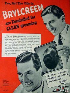 same Brylcreem Hairstyles, Vintage Hairstyles For Men, Advertising Archives, Hair Dressing, Men's Vintage, Bad Hair, Barbershop, Shadow Box, Healthy Hair