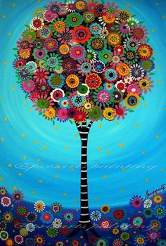 Mexican Folk Art Tree of Life Painting Bar bat Mitzvah by prisarts, $25.00