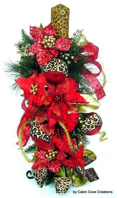 Christmas Floral Arrangement Candle Holder LeoParD Animal Print red ExoTiC Beauty 24 inFrEE ShiPPinG Limited Time by Cabin Cove Creations