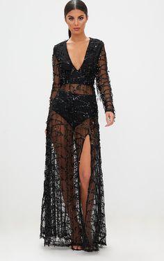 fdd1133ec15 Black Premium Sequin Long Sleeve Maxi DressGet your shine on with this  Premium maxi dress