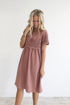 "Mauve Rose Midi Dress Babydoll Silhouette Lace Detailing on Sleeve + Front Keyhole Back Flowing Fit View Size Chart Model is 5'9"" + Wearing a Small"