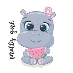 Cute baby hippo cartoon fly with love balloon Baby Hippo, Cute Hippo, Baby Girl Elephant, Baby Zebra, Disney Drawings Sketches, Easy Drawings, Cartoon Hippo, Cartoon Baby Animals, Hippo Drawing