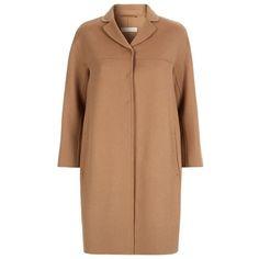 MaxMara Bastia Wool Coat (59.125 RUB) ❤ liked on Polyvore featuring outerwear, coats, beige coat, wool coat, maxmara coat, maxmara en woolen coat