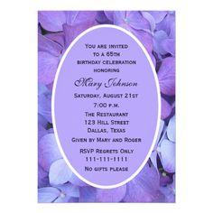 65th Birthday Party Invitation -- Hydrangea