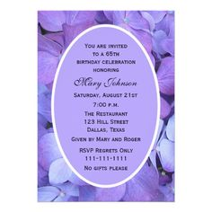 65th Birthday Party Invitation Hydrangea 50th Invitations 75th Parties