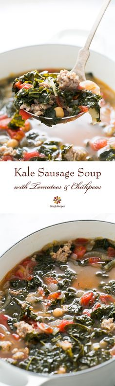 Kale Sausage Soup with Tomatoes and Chickpeas - Hearty kale sausage soup! With Italian sausage tomatoes garbanzo beans onions garlic and kale. Chickpea Recipes, Healthy Recipes, Healthy Meals, Healthy Options, Soup Recipes, Cooking Recipes, Recipies, Chilli Recipes, Ww Recipes