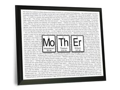 Mother Periodic Table of Elements Typography Wall Plaque