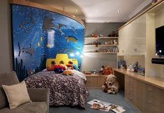 Aquarium/Submarine theme bedroom and playroom