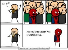 [PIC] Nobody loves #Spiderman at a #Metal show... #LULZ