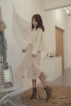 Asymmetrical Back Cropped Sweater Shop feminine adorable Korean clothing bag shoes acc for an instant charm Fall Fashion Skirts, Frock Fashion, Winter Fashion Outfits, Cute Fashion, Fashion Women, Korean Winter Outfits, Korean Outfits, Korean Clothes, Ulzzang Fashion
