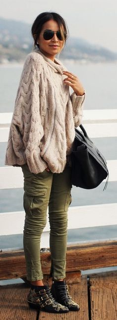 Cream Chunky Cable Knit Sweater by Sincerely Jules