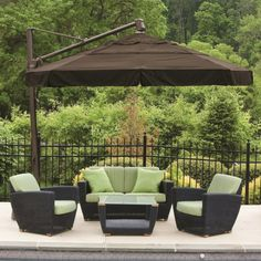 Alfresco Home Outdoor Cantilever Umbrella with Valance and Double Wind Vent | Outdoor Living