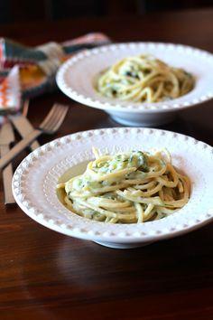 As Minhas Receitas: Esparguete com Molho Cremoso de Courgete e Queijo Creme