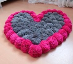 Heart Rug Pink Rug Pom Pom Carpet Soft Area by PomPomMyWorld