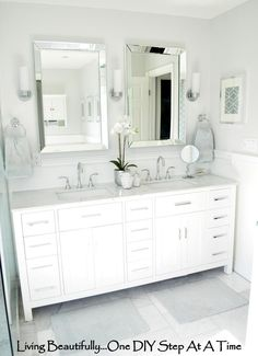 master bath tile @ http://livingbeautifullydiy.blogspot.com/2012/04/sourcing-sourcing.html A few small updates to our master ensuite...oh how accessories can make such a difference! http://livingbeautifullydiy.com/life-in-general/master-ensuite-reveal