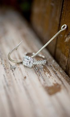 If your wedding is a nautical theme, then you'll love this ring + fishhook photo idea - North Palm Beach Engagement session from Captured Photography by Jenny Halo Engagement Rings, Engagement Couple, Engagement Shoots, Engagement Photography, Wedding Engagement, Wedding Photography, Fishing Engagement Photos, Engagement Ideas, Announcing Engagement