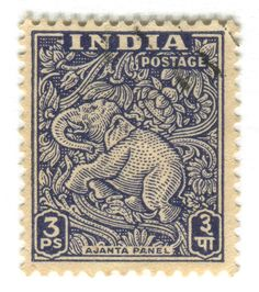 India Postage Stamp: Ajanta Caves elephant  part of stamp series featuring tourist sites in India, c. 1949