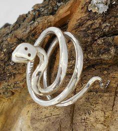 anillo rígido serpiente de plata