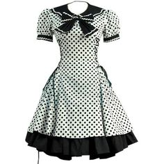 Partiss Women's Sailor Vintage 50's Party Dress Victorian Bowknot... ❤ liked on Polyvore featuring dresses, vintage sailor dress, victorian dress, white cocktail dresses, vintage dresses and white dress