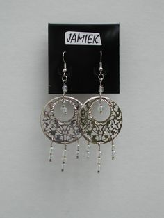 Earrings Silver Lattice Dangle Hoops with Iridescent Clear Beads