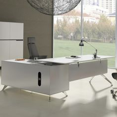 With metal a-frame legs and a weightless elevated workspace, this desk provides a minimalist approach to industrial design influence. Large cabinets and plenty of storage space ensure this desk remains as functional as it is attractive – a nice design for executives and creatives alike.