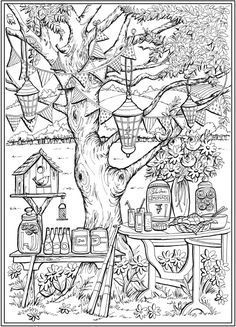 Page 1 of 7 COUNTRY CHARM a Creative Haven Coloring Book by Teresa Goodridge Welcome to Dover Publications | Creative haven coloring books Garden coloring pages