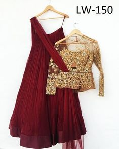 Maroon Georgette New Style Lehenga Choli ,Indian Dresses - 1 Blouse Lehenga, Red Lehenga, Lehenga Choli, Lehenga With Long Choli, Sari, Lehenga Designs, Latest Lehnga Designs, Indian Wedding Outfits, Indian Outfits