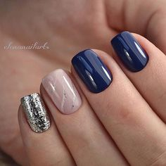 Blue pink and silver nails