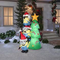 christmas inflatable minions tree scene outdoor garden lawn yard xmas decoration