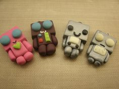 Robot Polymer Clay Charms. Aww so cute I wanna make these