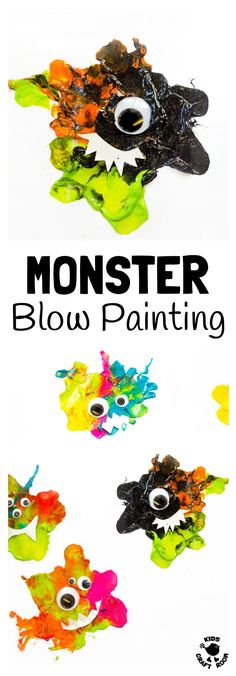 MONSTER BLOW PAINTING - Kids will love blow painting their own unique MONSTER CRAFT. Stick them on a greeting card, display them on the wall or even turn them into puppets to play with. A fun Halloween craft or monster craft all year round. Perfect for yo Halloween Crafts For Kids, Halloween Activities, Craft Activities For Kids, Easy Halloween, Preschool Crafts, Preschool Halloween, Nursery Activities, Whimsical Halloween, Autumn Activities